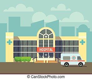 bâtiment, ville, style, plat, hôpital, vecteur, conception