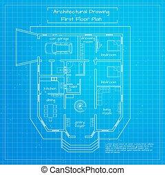 bâtiment, ville, vecteur, illustration, blueprint.