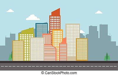 bâtiment, ville, vecteur, illustration