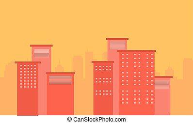 bâtiment, ville, vecteur, silhouette, illustration