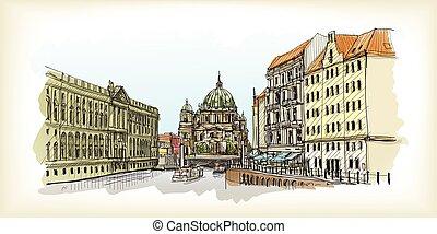 bâtiment, ville, vieux, croquis, illustration, main, berlin, vecteur, cathedral., scape, dessiné, germany.