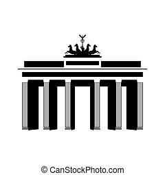 bâtiment, ville, voyage, noir, architecture, berlin, blanc, icône, repères, germany.