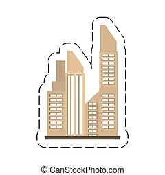 bâtiment, ville, vrai, dessin animé, propriété