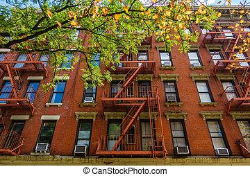 bâtiment, ville, york, façade, nouveau, brique
