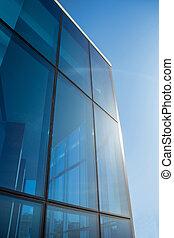 bâtiment, vitreux, bureau