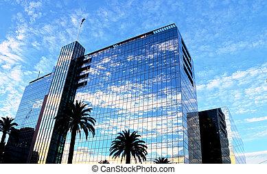 bâtiment, vitreux, ciel, réflexions