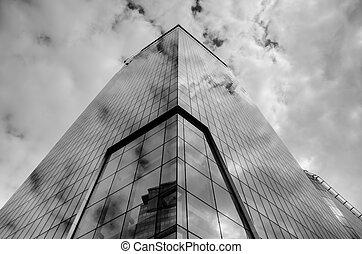 bâtiment, vitreux, coup, moderne, fond
