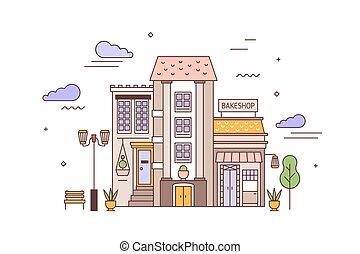 bâtiment, vivant, bakeshop, linéaire, district, urbain,...