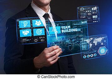 bâtiment, voit, réseau, fonctionnement, inscription:, concept., internet, jeune, virtuel, business, avenir, équipe, homme affaires, écran, technologie