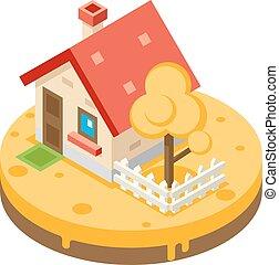 bâtiment, vrai, pré, propriété, plat, maison, symbole, arbre, privé, automne, vecteur, conception, illustration, fond, propriété, icône