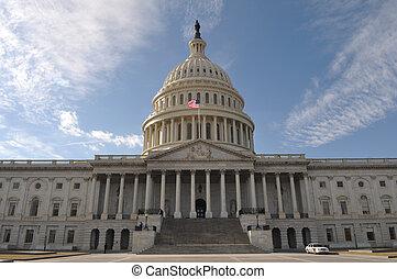 bâtiment, washington, colline, capitole, dc