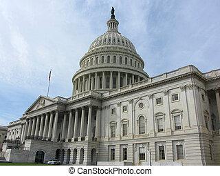 bâtiment, washington dc, capitole américain