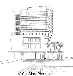 bâtiment, wireframe, 3d