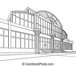bâtiment, wireframe, bureau