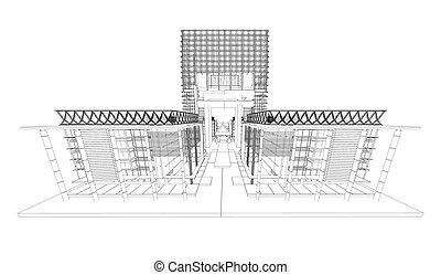 bâtiment, wireframe, moderne