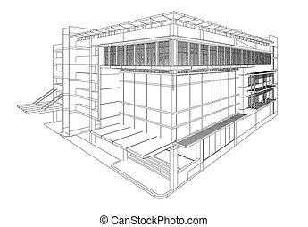 bâtiment, wireframe., perspective, render, 3d