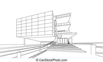bâtiment, wireframe, render, 3d