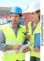 bâtiment, workteam, réunion, site