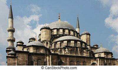 bâtiment, yeni, nuages, ciel, timelapse, mosquée, cami, istanbul, courant, ombres, turquie, changer, travers