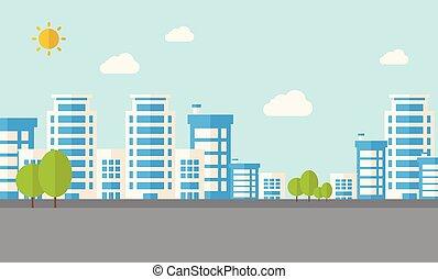 bâtiments, à, arbres