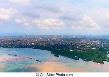 bâtiments, aérien,  Bali, projection,  andmangrove, forêt,  denpasar, vue