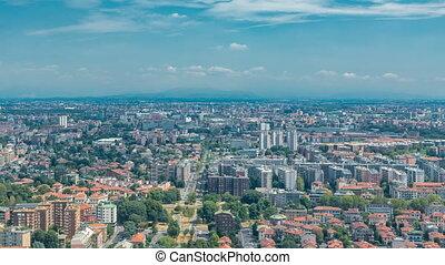 bâtiments, aérien, district, business, résidentiel, timelapse, milan, vue