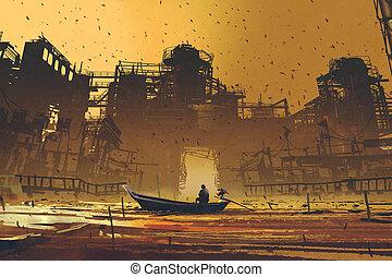 bâtiments, abandonnés, contre, mer, flotter, bateau, homme