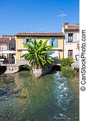 bâtiments, ancien, moyen-âge, village, typique, italien
