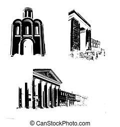 bâtiments, ancien, silhouette, fond blanc