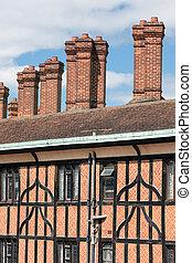 bâtiments, angleterre, windsor, brique, château, cheminée