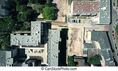bâtiments, appartement, aérien, sommet, bas, poznan, pologne, vue
