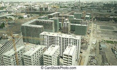bâtiments, appartement, coup, moderne, site, construction, aérien