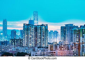bâtiments, appartement, shenzhen., time., coucher soleil, extérieur, china.