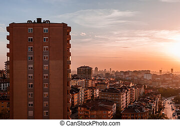 bâtiments, appartement, silhouette, coloré, ciel, contre, coucher soleil