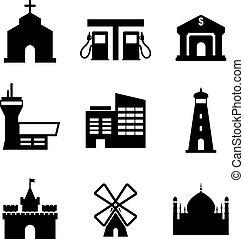 bâtiments, architecture, icônes