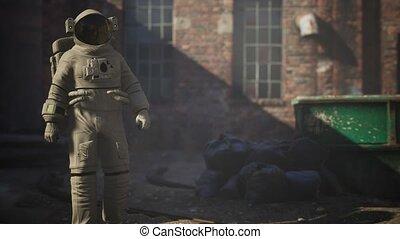 bâtiments, astronaute, industriel, usine, abandonnés, vieux, perdu