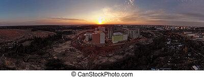 bâtiments, au-dessus, résidentiel, construction, coucher soleil, panorama