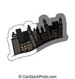 bâtiments, autocollant, scène, cityscape, côté, icône