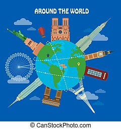 bâtiments, autour de, globe, célèbre, voyager, architectural, mondiale, bannière