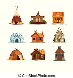bâtiments, autour de, pays, ensemble, différent, traditionnel, maisons, vecteur, fond, illustrations, mondiale, blanc