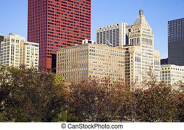 bâtiments, avenure, chicago, michigan, -, automne