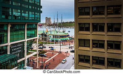 bâtiments, baltimore, garage, port, maryland., intérieur, stationnement, vue