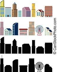 bâtiments, blanc, conceptions, différent, fond