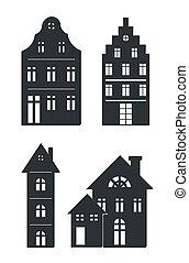 bâtiments, blanc, noir, silhouettes, fond