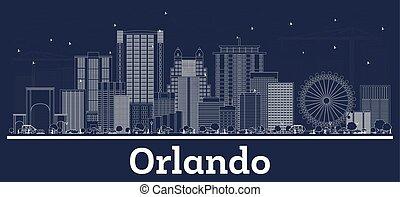 bâtiments., blanc, orlando, horizon, ville, contour, floride