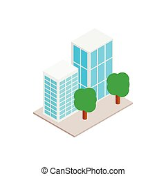 bâtiments bureau, à, arbres, icône