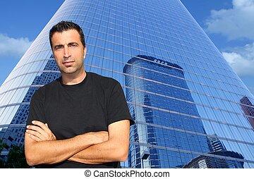 bâtiments, bureau, âge, moderne, mi, portrait, homme