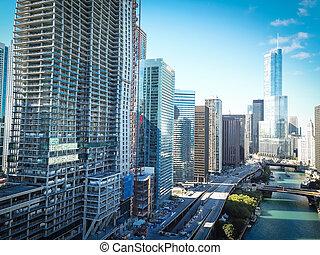 bâtiments, bureau, chicago, sommet, horizon, long, rivière, vue