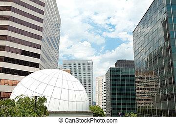 bâtiments bureau, en ville, virginie, rosslyn, bleu ciel, ...