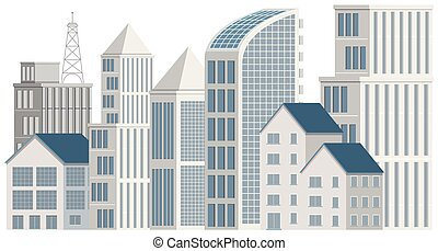bâtiments, bureau, fond blanc